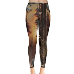 Sunset In The Frozen Winter Forest Inside Out Leggings by Sudhe