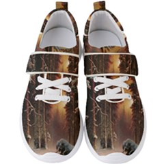 Sunset In The Frozen Winter Forest Men s Velcro Strap Shoes by Sudhe