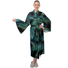 Palms Pattern Design Maxi Velour Kimono by Sudhe