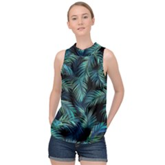 Palms Pattern Design High Neck Satin Top