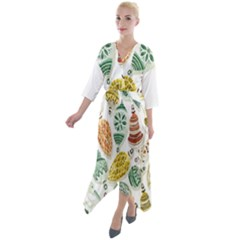 Surface Pattern  Vintage Christmas Ornaments Short Sleeve Wrap Front Maxi Dress