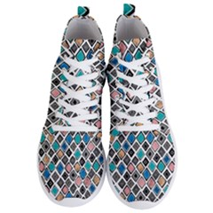 Diamond Shapes Pattern Men s Lightweight High Top Sneakers