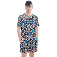 Diamond Shapes Pattern Men s Mesh Tee And Shorts Set
