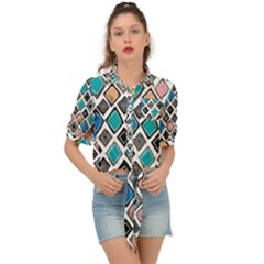 Diamond Shapes Pattern Tie Front Shirt