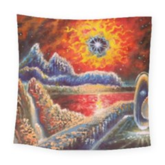 Sci Fi  Landscape Painting Square Tapestry (large)