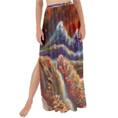 Sci Fi  Landscape Painting Maxi Chiffon Tie Up Sarong