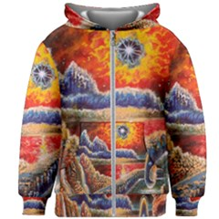 Sci Fi  Landscape Painting Kids  Zipper Hoodie Without Drawstring