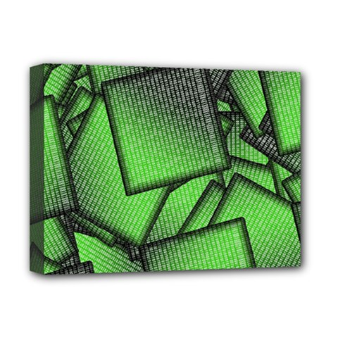 Binary Digitization Null Green Deluxe Canvas 16  X 12  (stretched)  by HermanTelo