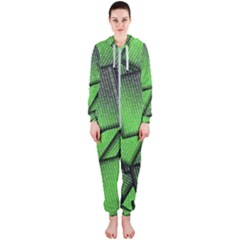 Binary Digitization Null Green Hooded Jumpsuit (ladies)
