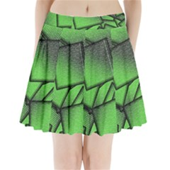 Binary Digitization Null Green Pleated Mini Skirt by HermanTelo