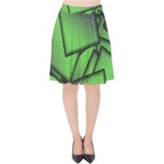 Binary Digitization Null Green Velvet High Waist Skirt