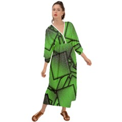 Binary Digitization Null Green Grecian Style  Maxi Dress