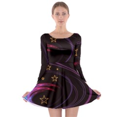 Background Abstract Star Long Sleeve Skater Dress