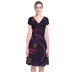 Background Abstract Star Short Sleeve Front Wrap Dress