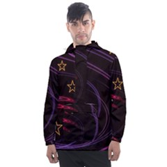 Background Abstract Star Men s Front Pocket Pullover Windbreaker