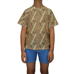 Gold Background 3d Kids  Short Sleeve Swimwear