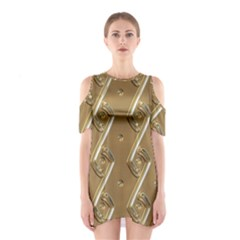 Gold Background 3d Shoulder Cutout One Piece Dress