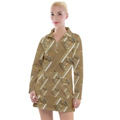 Gold Background 3d Women s Long Sleeve Casual Dress