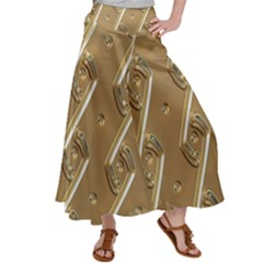 Gold Background 3d Satin Palazzo Pants