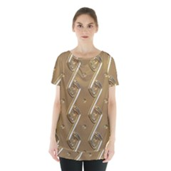 Gold Background 3d Skirt Hem Sports Top by Mariart