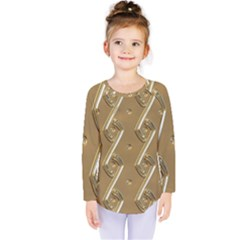 Gold Background 3d Kids  Long Sleeve Tee