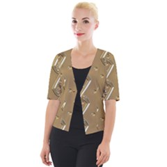 Gold Background 3d Cropped Button Cardigan