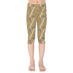 Gold Background 3d Kids  Capri Leggings