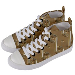 Gold Background 3d Women s Mid-top Canvas Sneakers by Mariart