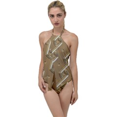 Gold Background 3d Go With The Flow One Piece Swimsuit