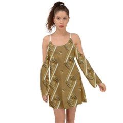 Gold Background 3d Kimono Sleeves Boho Dress