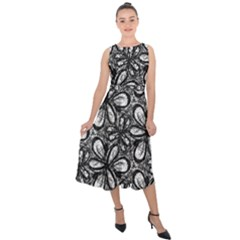 Fabric Pattern Sunflower Midi Tie Back Chiffon Dress