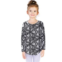 Fabric Pattern Sunflower Kids  Long Sleeve Tee