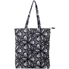 Fabric Pattern Sunflower Double Zip Up Tote Bag