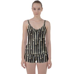 Bamboo Grass Tie Front Two Piece Tankini