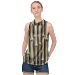 Bamboo Grass High Neck Satin Top by Alisyart