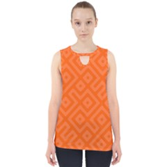 Orange Maze Cut Out Tank Top