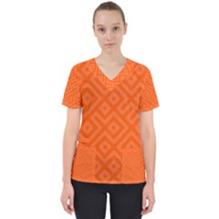 Orange Maze Women s V-Neck Scrub Top