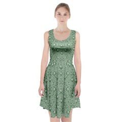Baroque Green Pearls Ornate Bohemian Racerback Midi Dress