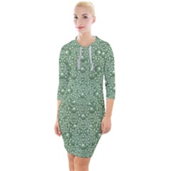 Baroque Green Pearls Ornate Bohemian Quarter Sleeve Hood Bodycon Dress