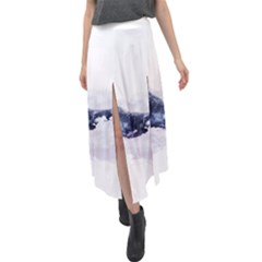 Blue Whale Velour Split Maxi Skirt by goljakoff