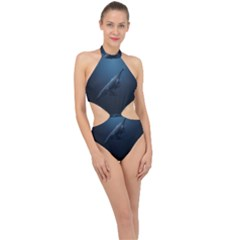Blue Whales Halter Side Cut Swimsuit by goljakoff