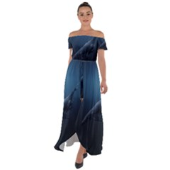 Blue Whales Off Shoulder Open Front Chiffon Dress