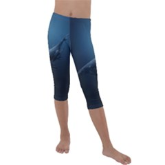 Blue Whales Kids  Lightweight Velour Capri Leggings  by goljakoff