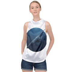 Whales Family High Neck Satin Top