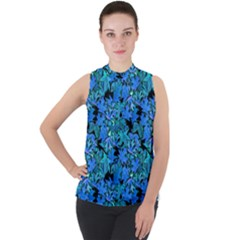 Fall Leaves Blue Mock Neck Chiffon Sleeveless Top by bloomingvinedesign