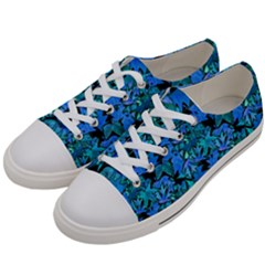 Fall Leaves Blue Women s Low Top Canvas Sneakers by bloomingvinedesign