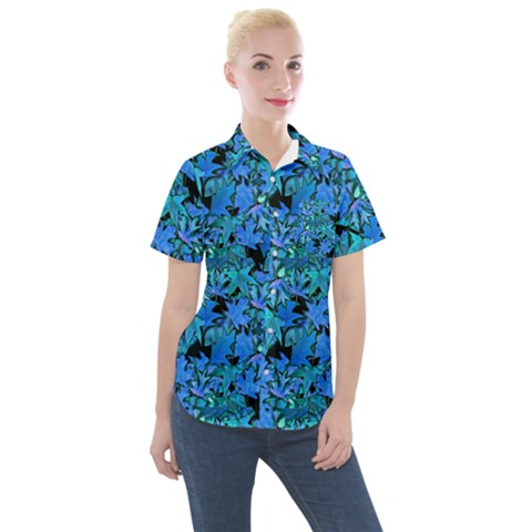 Fall Leaves Blue Women s Short Sleeve Pocket Shirt by bloomingvinedesign