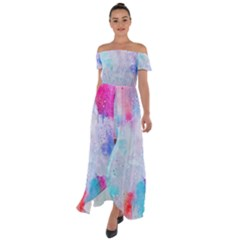 Rainbow Paint Off Shoulder Open Front Chiffon Dress