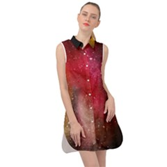 Red Space Sleeveless Shirt Dress by goljakoff