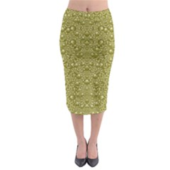 Baroque Pearls In Ornate Decorative Bohemian Style Midi Pencil Skirt